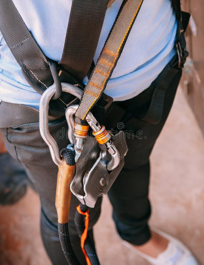 Close up of climbing gear harness, adventure sport equipment stock images