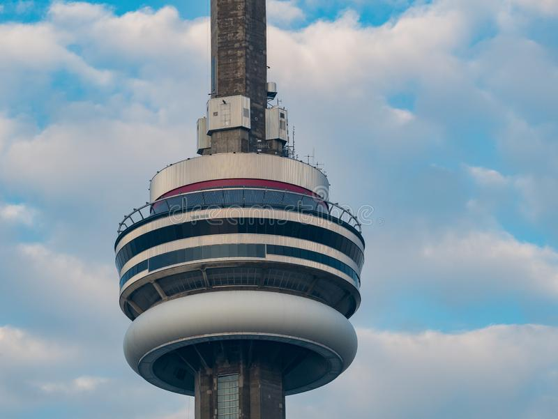 Close up shot of the CN Tower with clouds timelapse. At Tornoto, Canada stock photo