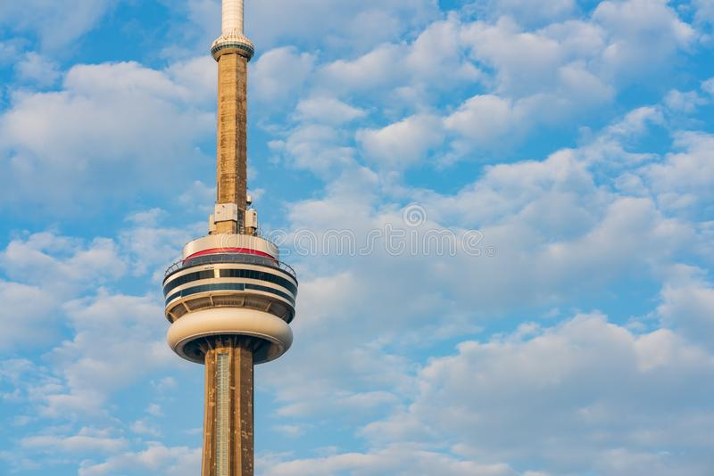 Close up shot of the CN Tower with clouds. At Tornoto, Canada royalty free stock photography
