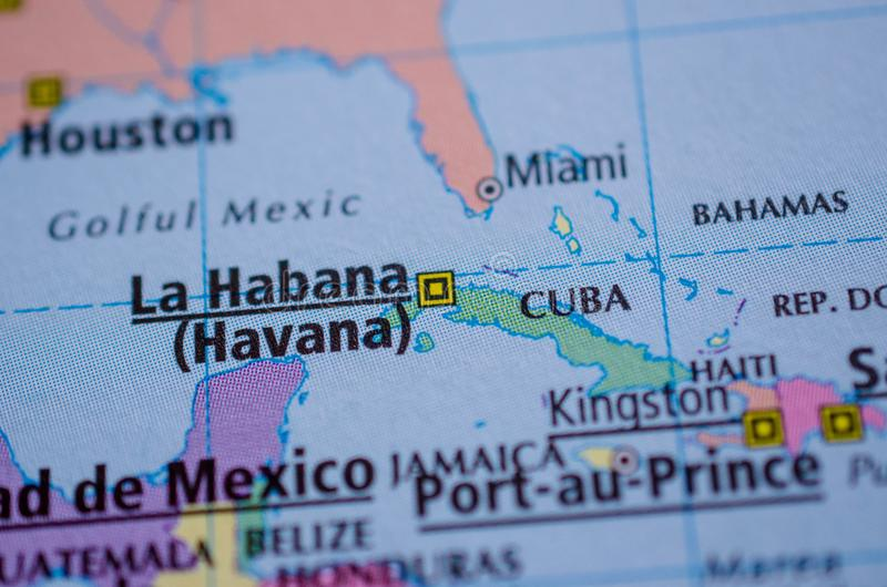 Cuba on map. Close up shot of Cuba and Havana on a map royalty free stock photo