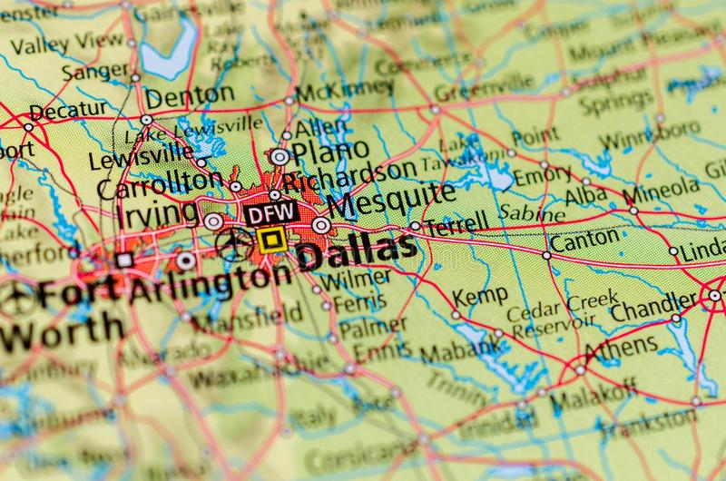Dallas on map royalty free stock photo