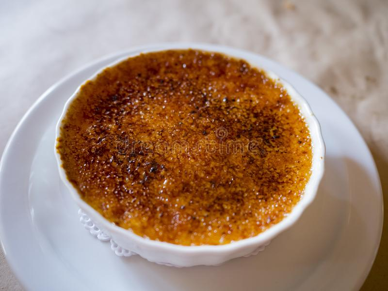 Close up shot of a delicious Creme Brulee royalty free stock image