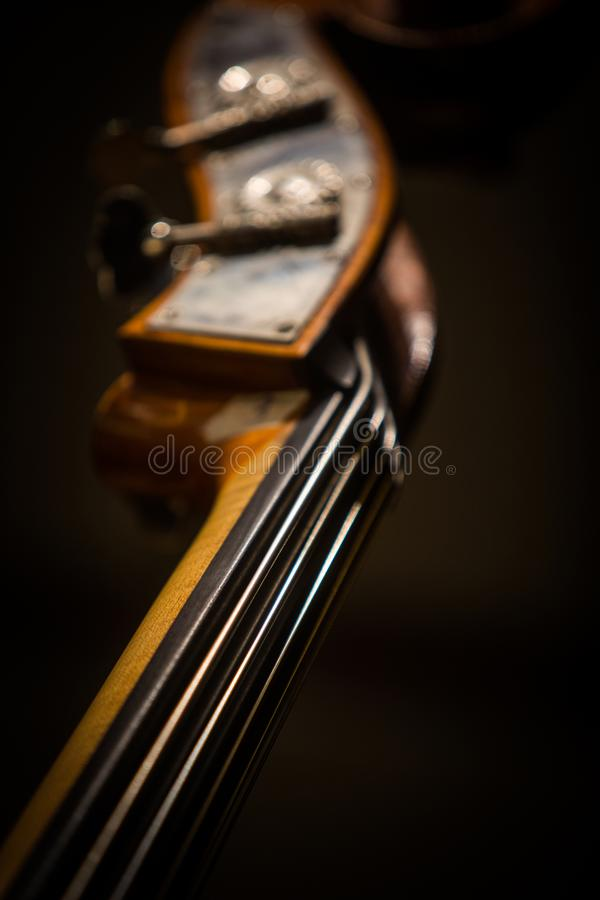 Double bass scroll and tuning pegs. Close up shot of a double bass scroll and tuning pegs stock photo