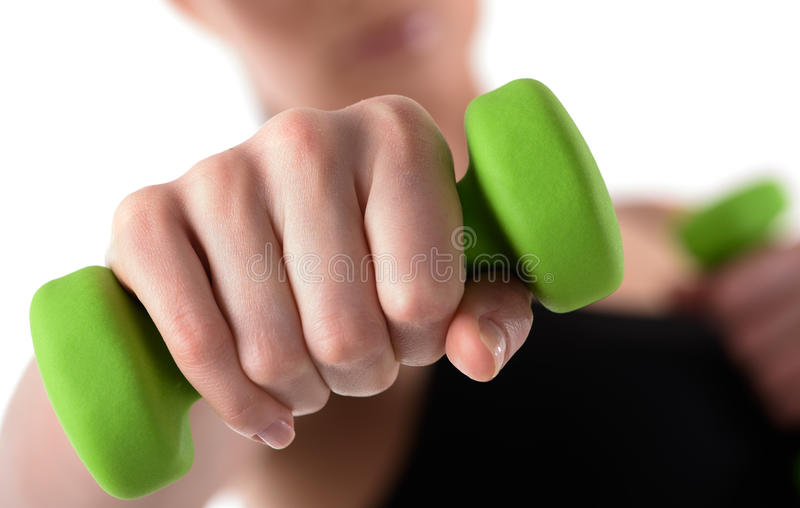 Close up shot of fighting woman stock image