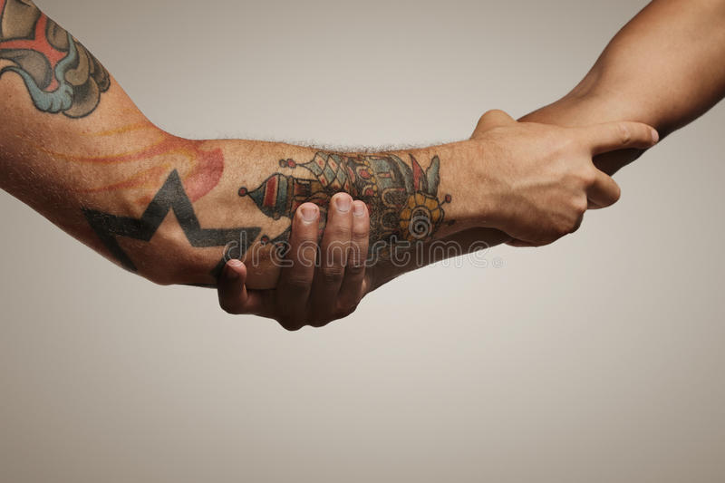 Close up shot of a forearm handshake. Forearm shake of two young male friends isolated on white stock photos