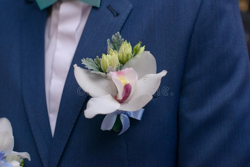 Orchid boutonniere pinned on a groom or male guest jacket. Close-up shot of fresh orchid boutonniere pinned on a groom or male guest jacket, a traditional male royalty free stock photo