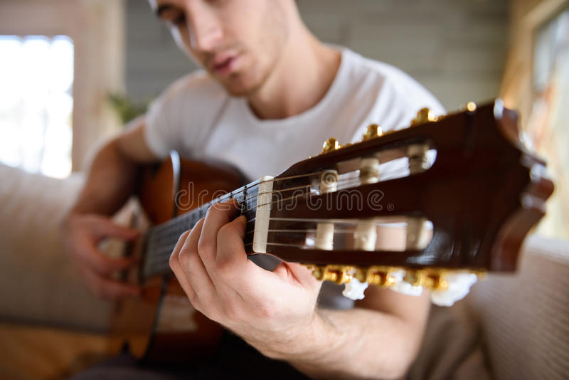 Close up shot of gitar royalty free stock image
