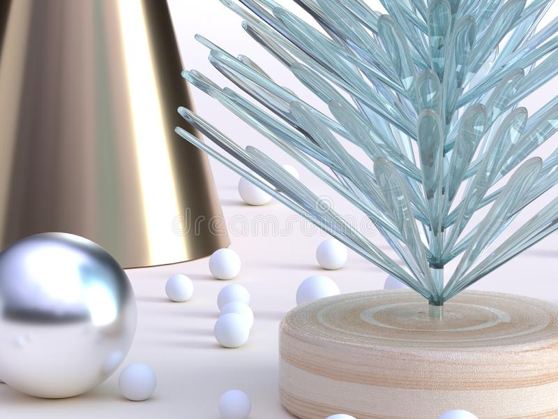 Close up shot green clear abstract tree gold cone decoration winter new year concept 3d rendering royalty free illustration