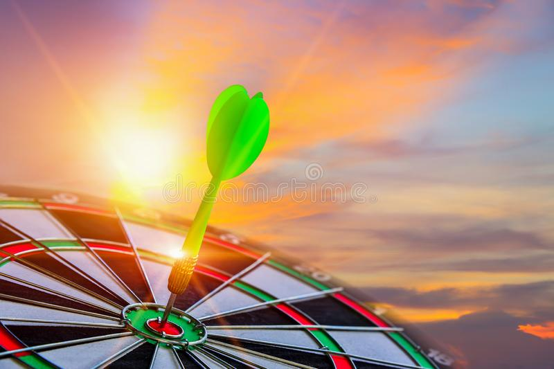Close up shot green darts arrow on center for dartboard. vector illustration