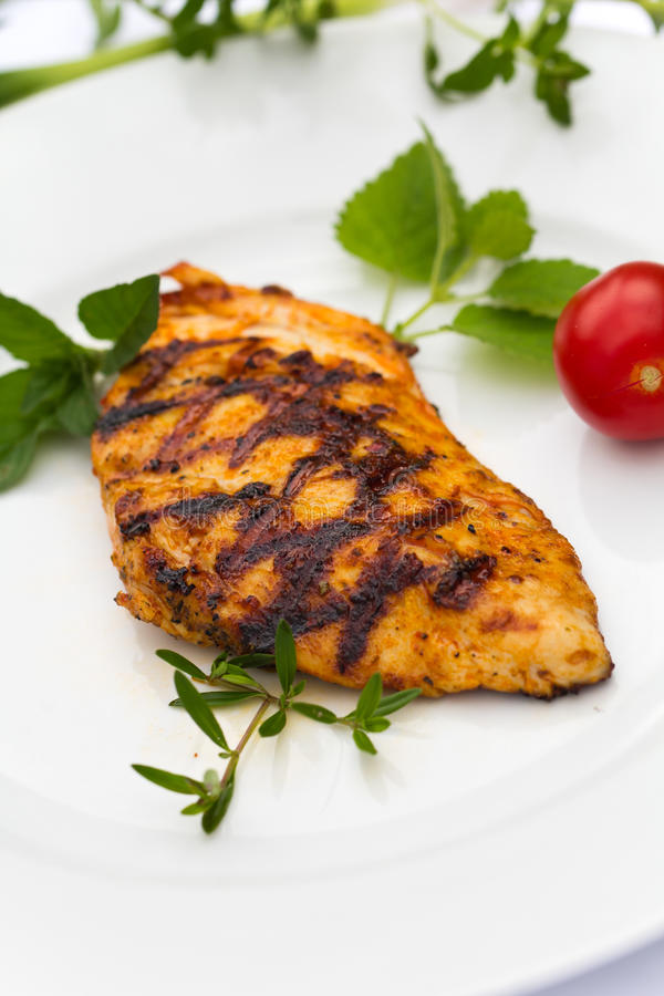 Close up shot grilled chicken breast royalty free stock photography