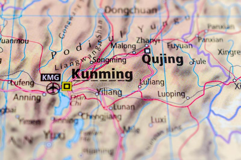 Kunming on map. Close up shot of Kunming. is the capital and largest city of Yunnan province in southwest China royalty free stock images