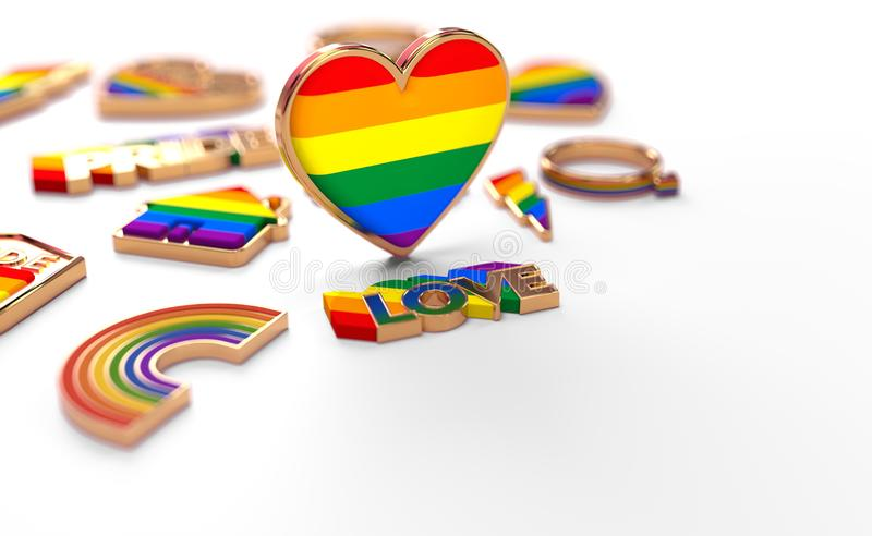 Close up shot on LGBT rainbow heart standing on white background. Copy space below for your text. 3D rendering vector illustration