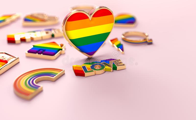 Close up shot on LGBTQ+ rainbow heart standing on pastel pink background. Copy space for your text. 3D rendering vector illustration