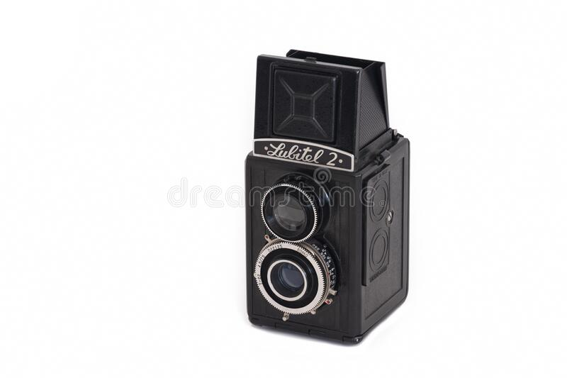 Close up shot of Lubitel 2 TLR Camera. MERSIN,TURKEY - DECEMBER 27, 2019: Close up shot of Lubitel 2, a medium format twin-lens reflex camera manufactured stock photography