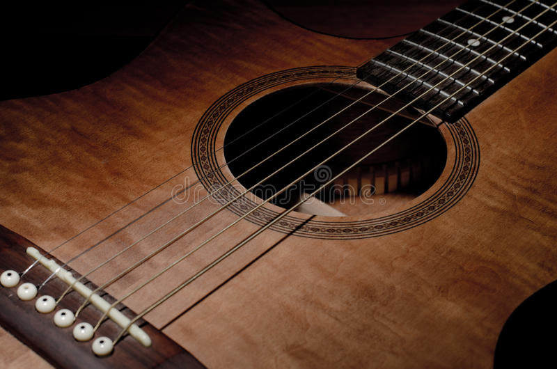 Close-up shot of mahogany guitar's features and sound hole royalty free stock photos