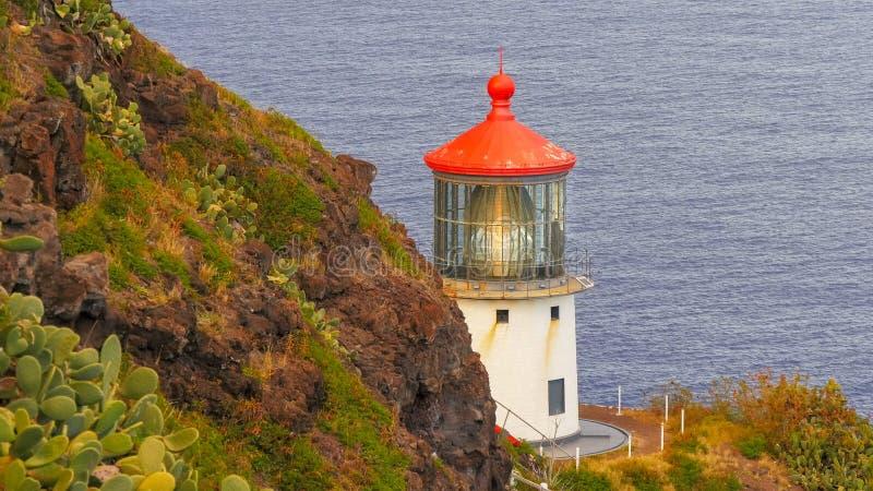 Close up shot of makapuu lighthouse at sunset royalty free stock photos