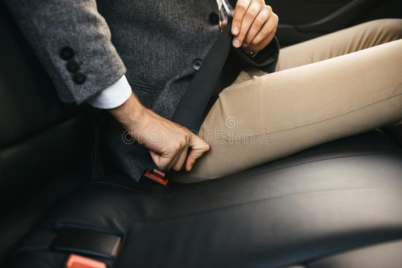 Close up shot of male. Driver fastens seat belt stock photo