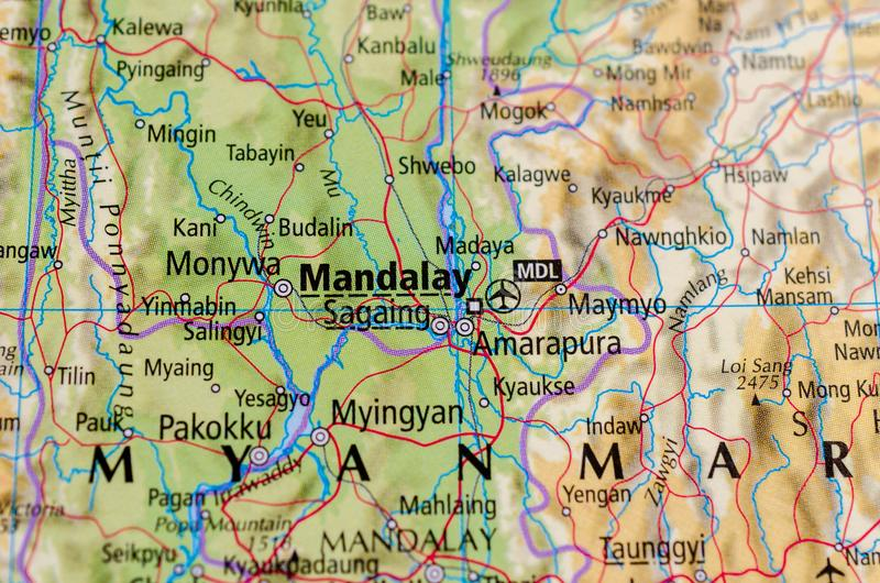 Mandalay on map. Close up shot of Mandalay. is the second-largest city and the last royal capital of Myanmar Burma stock images