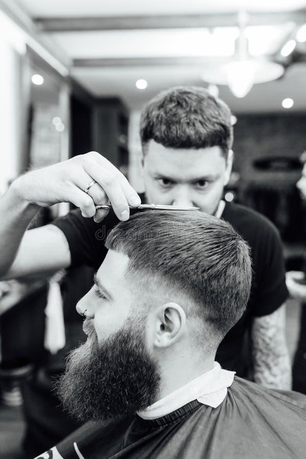 Man Getting Trendy Haircut At Barber Shop Stock Image Image Of