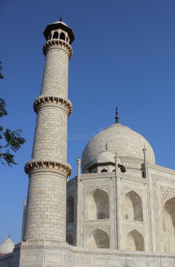 Close-up shot of the minaret of taj mahal stock images