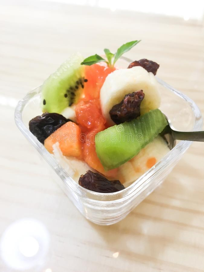 Juicy Colorful Fresh Fruit Cup stock images
