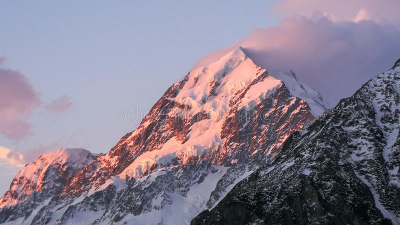 A close up shot of mt cook at sunset royalty free stock images