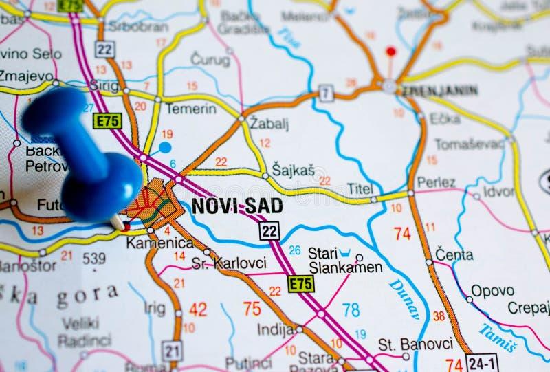 Novi Sad on map. Close up shot of Novi Sad on map with blue push pin royalty free stock photos