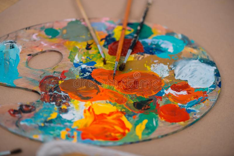 close-up shot of oil painting palette stock photos