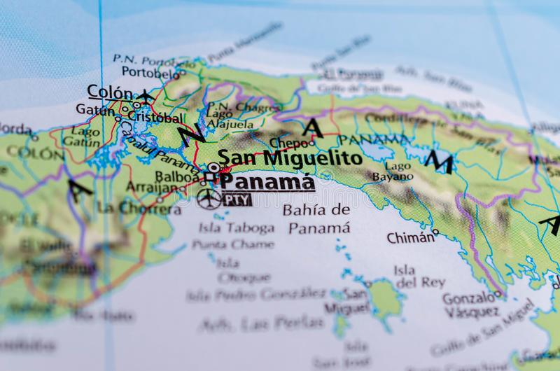 Panama on map. Close up shot of Panama. is the capital and largest city of Panama stock images