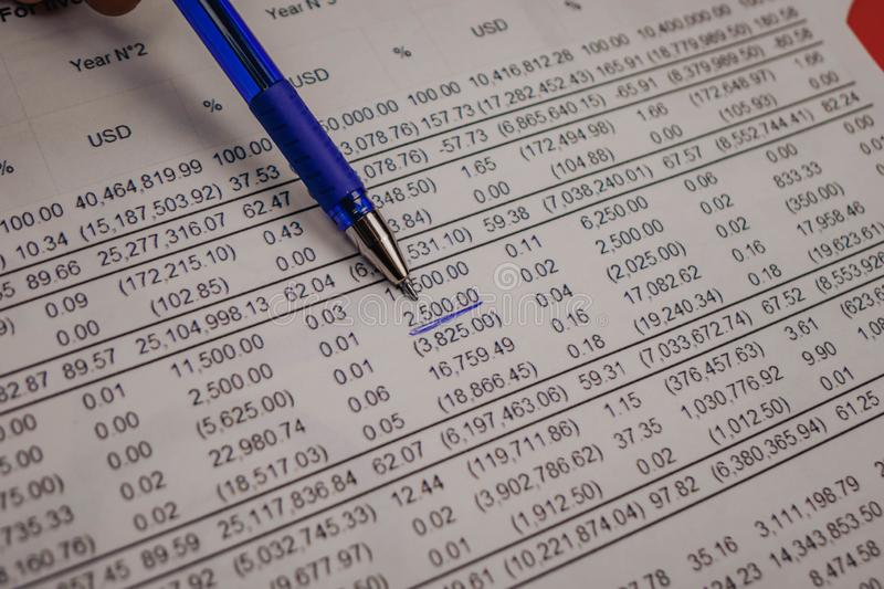 Close up shot of a pen on stock price chart stock photo