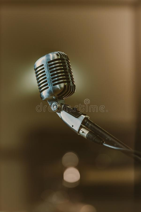 close-up shot of retro microphone stock photography