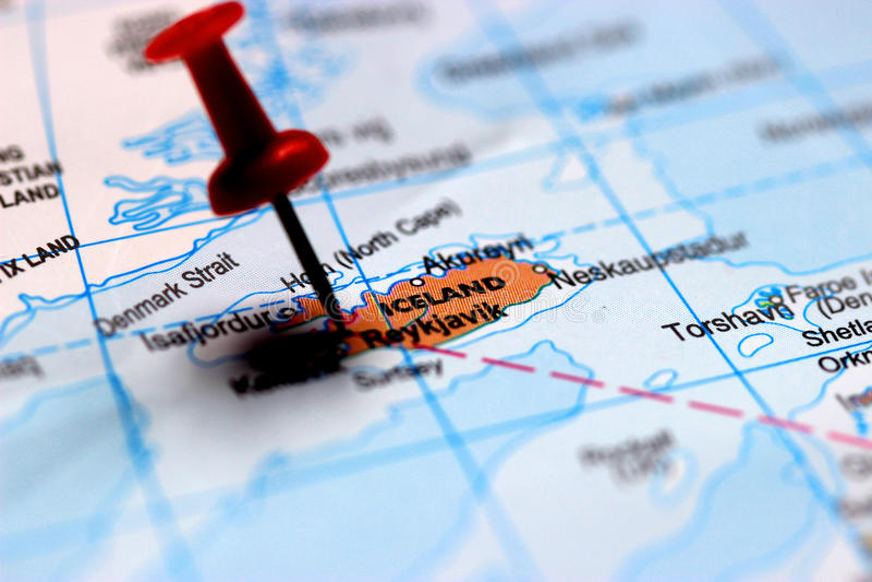 A close up shot of Reykjavík on map, capital of Iceland royalty free stock photography