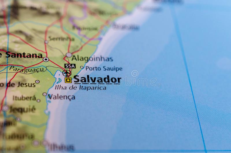 Salvador, Bahia on map. Close up shot of Salvador, Bahia. is the capital of the Brazilian state of Bahia royalty free stock photo
