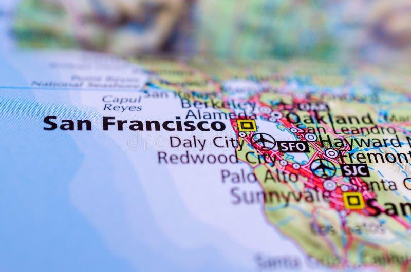 San Francisco on map. Close up shot of San Francisco. Spanish for `Saint Francis royalty free stock image