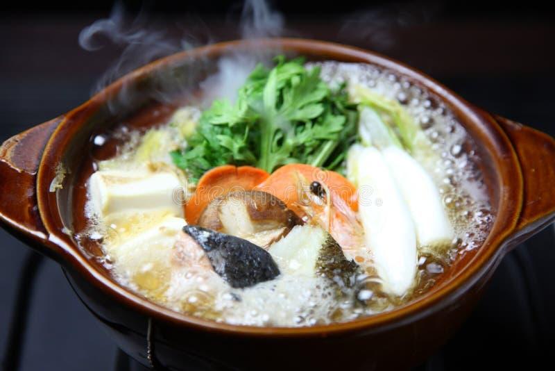Seafood Sumo Wrestler Hot Pot. Close Up Shot Of Seafood Sumo Wrestler Hot Pot on a dining table royalty free stock images
