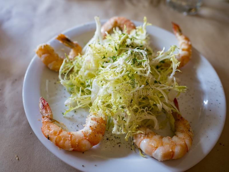 Close up shot of shrimp and cabbage dish stock image