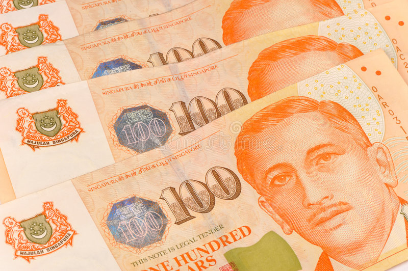 Close up shot of singapore dollar notes royalty free stock image