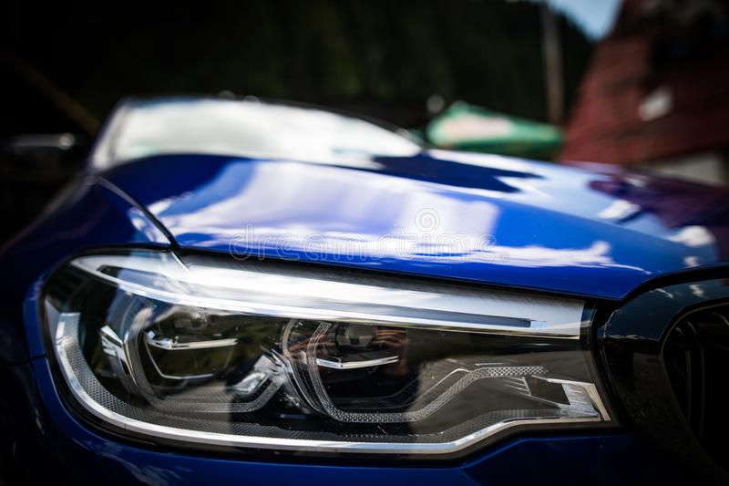 LED automobile headlights royalty free stock photos