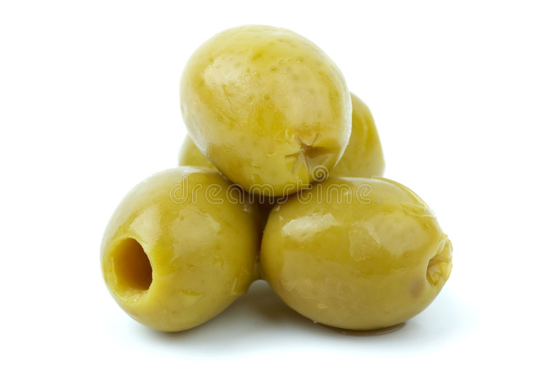 Close-up shot of some pitted olives stock photo