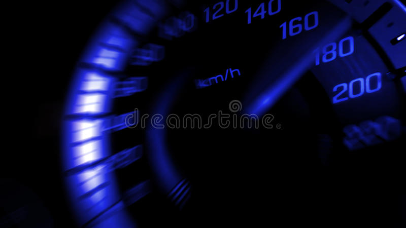 Close up shot of a speed meter in a car with blue light speed at 180 Km/H in concept racing car stock images