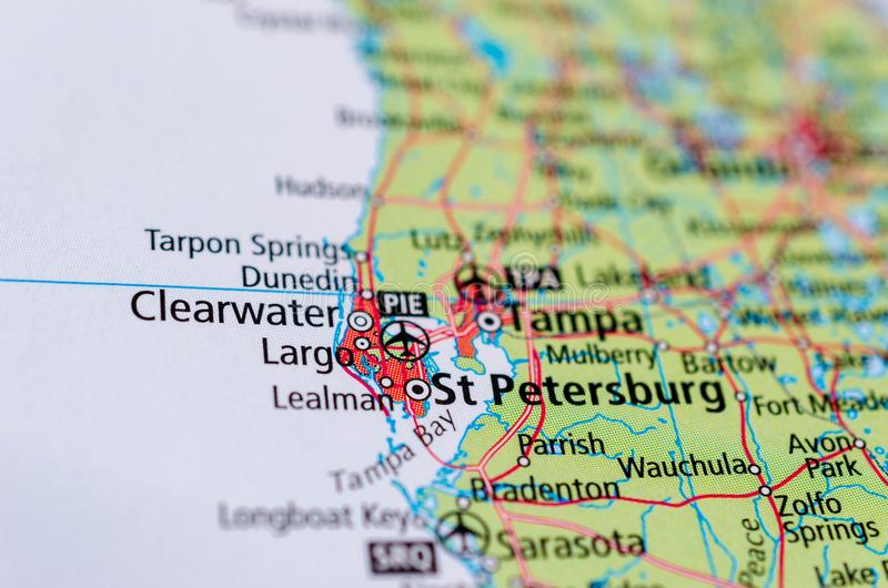 St. Petersburg, Florida on map. Close up shot of St. Petersburg, Florida. is a city in Pinellas County, Florida, United States stock image