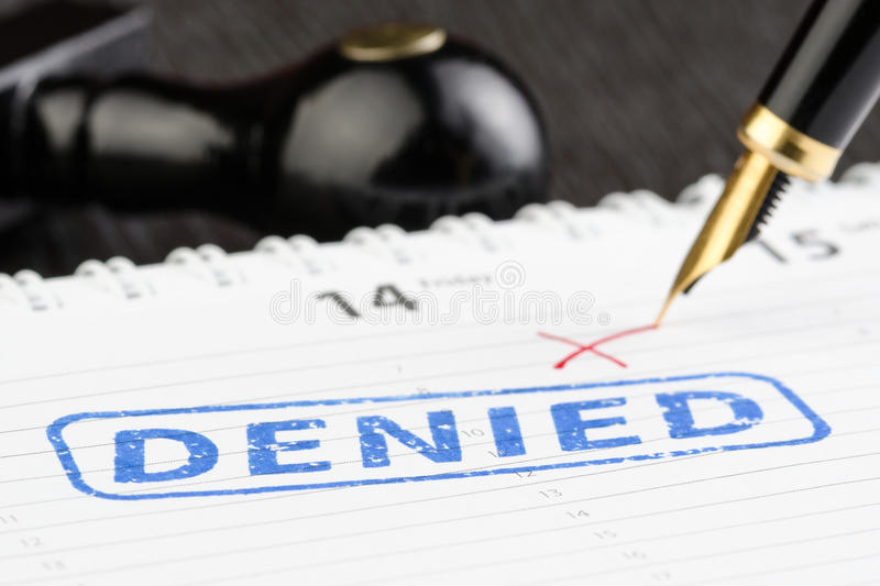 Close up shot of stamp denied stock photography