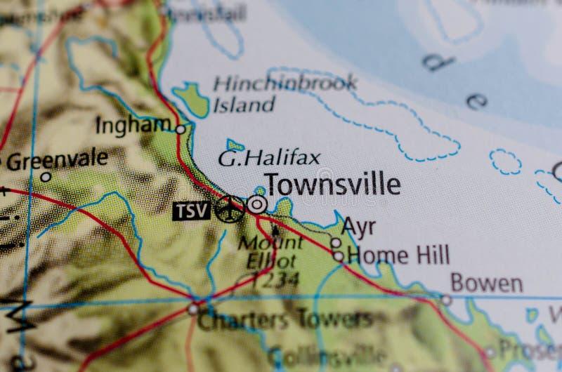 Townsville on map stock photos