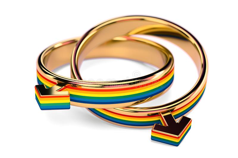 Close up shot on two gay male wedding rings connected together isolated on white background. Gay marriages concept. 3D rendering stock illustration
