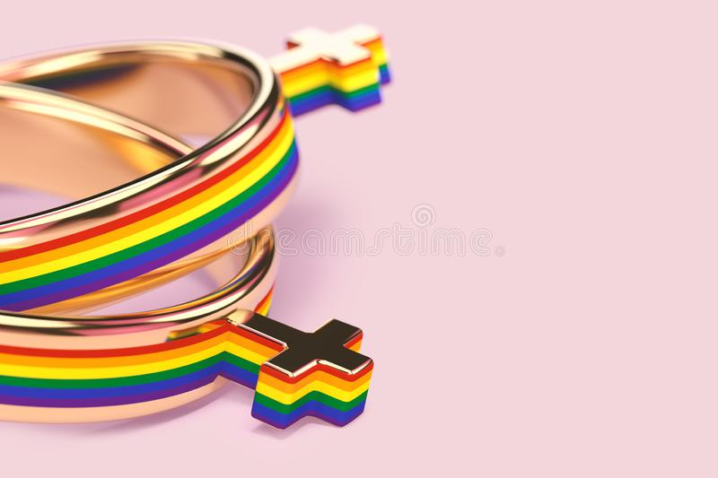 Close up shot on two lesbian female wedding rings on pastel pink background. Lesbian marriages issue concept. 3D rendering vector illustration