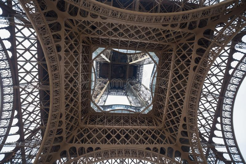 Close-up shot from under the Eiffel Tower. Eiffel tower from below. royalty free stock photos