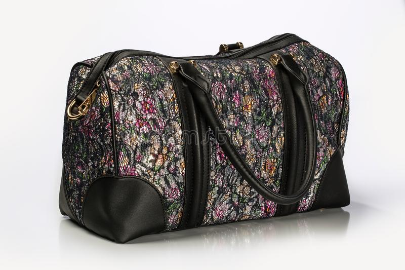 Close Up Shot Of A Unisex Duffle Bag With Multicolor Floral Pat stock photography