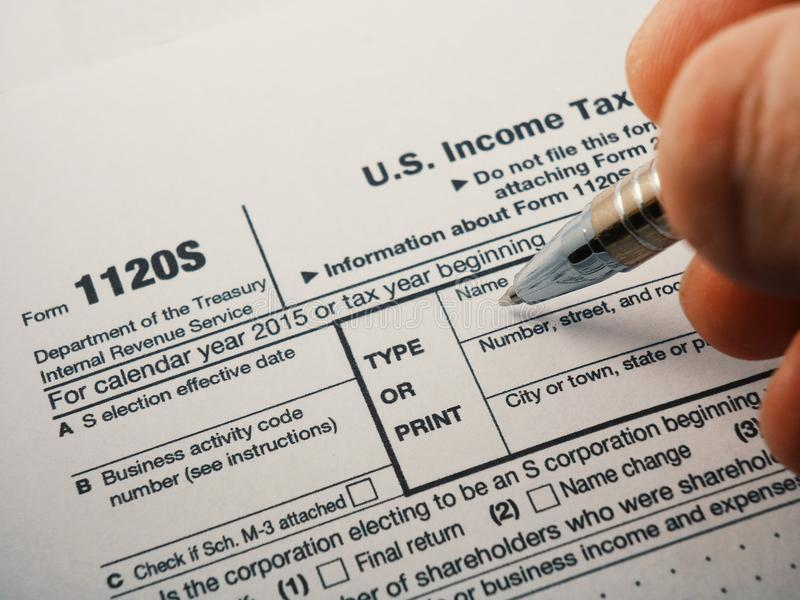 Close up shot of United States Internal Revenue Service IRS tax return form 1120S for small corporations also known as S-Corps. Close up shot of United States royalty free stock image