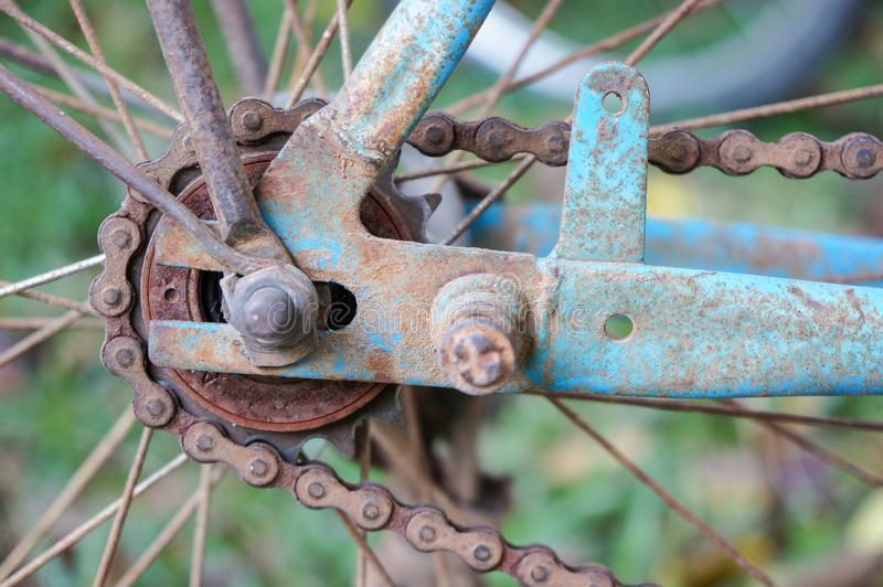 Close-up shot of a used old bicycle chain sprocket royalty free stock images