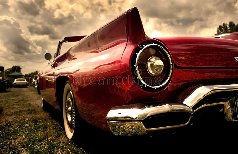 Close up shot of a vintage car stock image